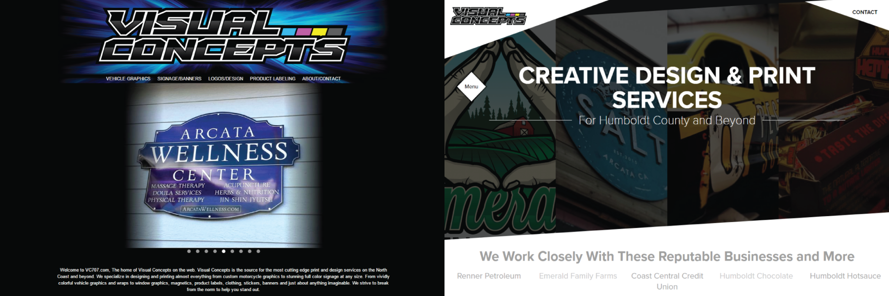 Before and After Screenshots of Visual Concepts Website
