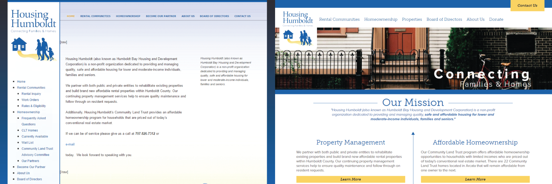 Picture demonstrating the difference between Housing Humboldt's old homepage and their new one.