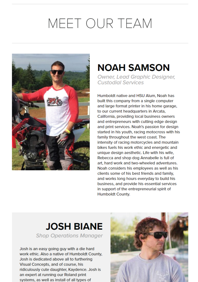 Screenshot from Visual Concepts Team Profiles page